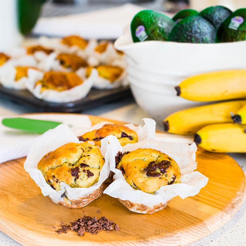 Avocado Muffins with Chocolate and Banana